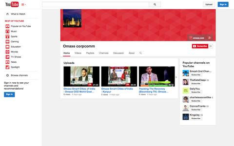 Screenshot of YouTube Page youtube.com - Omaxe corpcomm  - YouTube - captured Oct. 26, 2014