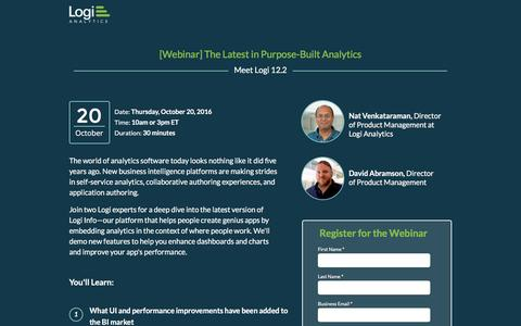 Screenshot of Landing Page logianalytics.com - Logi 12.2: New Features in Self-Service and Application Authoring [Webinar] - captured Oct. 29, 2016