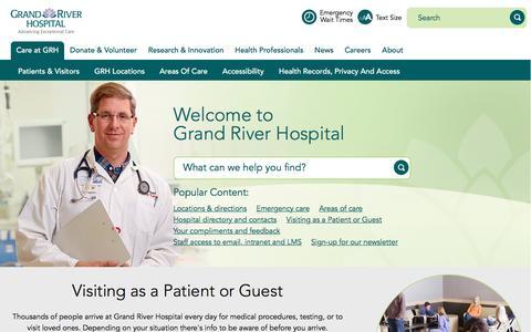 Screenshot of Home Page grhosp.on.ca - Grand River Hospital - Kitchener Waterloo, Ontario - captured Nov. 13, 2016