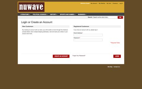 Screenshot of Login Page nuwave.sg - Customer Login - captured Oct. 9, 2014