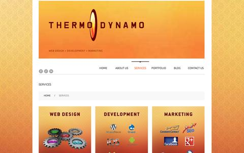Screenshot of Services Page thermodynamo.com - Web Design Development Minneapolis St. Paul Minnesota - captured Feb. 16, 2016