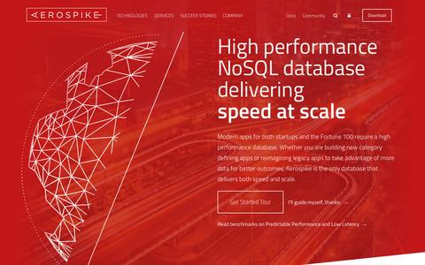 Screenshot of Home Page aerospike.com - Aerospike | High performance NoSQL database - captured Oct. 1, 2015