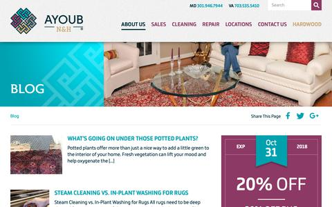Screenshot of Blog furniturerugcleaning.com - Ayoub N&H Serving Maryland, Washington DC & Northern Virginia   A carpet and rug store that also has a wide range of services like carpet cleaning and rug cleaning in maryland, dc & northern virginia - captured Oct. 4, 2018