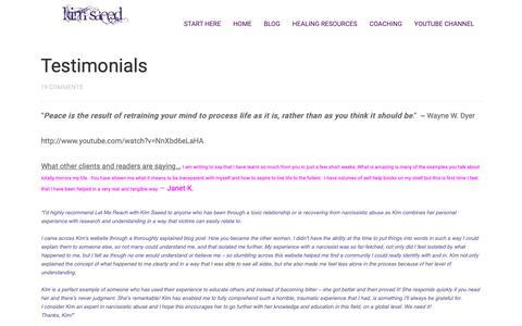 Screenshot of Testimonials Page kimsaeed.com - Testimonials - Kim Saeed: Narcissistic Abuse Recovery & Personal Growth - captured Oct. 19, 2018