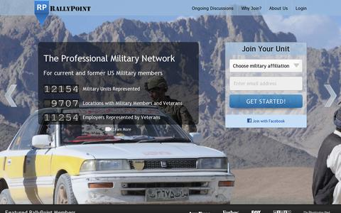 Screenshot of Home Page rallypoint.com - RallyPoint - The Professional Military Network - captured July 11, 2014