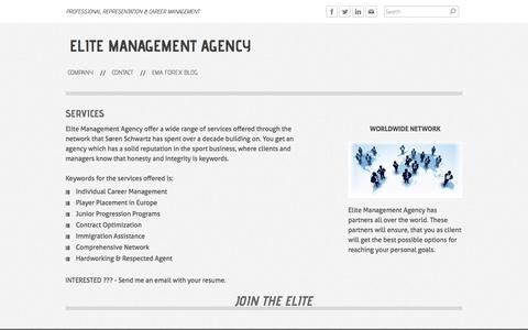 Screenshot of Services Page elitemanagementagency.com - SERVICES - Elite Management Agency - captured Sept. 29, 2014
