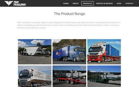 Screenshot of Products Page tmc-trailers.co.nz - Truck Trailers Products - captured Oct. 18, 2018