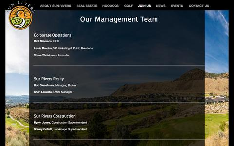 Screenshot of Team Page sunrivers.com - Our Management Team ‹ Sun Rivers Golf Resort Community - captured Feb. 16, 2016