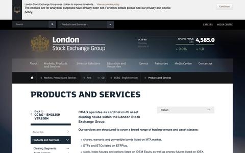 Screenshot of Services Page lseg.com - Products and Services | London Stock Exchange Group - captured Sept. 27, 2018