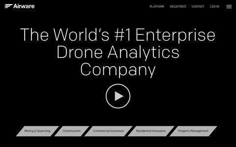 Screenshot of Home Page airware.com - Enterprise Drone Analytics Software Aerial Data & Business Intelligence | Airware - captured Aug. 8, 2018
