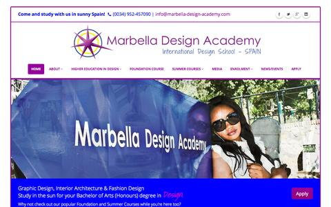 Screenshot of Home Page designschool.com - Marbella Design Academy | BA (Hons) Degrees in Design - captured Sept. 18, 2014