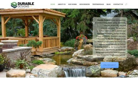 Screenshot of Home Page durable-designs.com - Durable Designs - Stonework and Masonry - captured Feb. 9, 2016