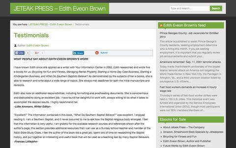 Screenshot of Testimonials Page jeteakpress.com - Testimonials - JETEAK PRESS - Edith Eveon Brown - captured Jan. 9, 2016