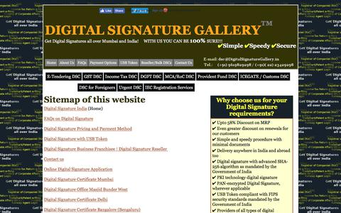 Screenshot of Site Map Page digitalsignaturegallery.in - Digital Signature Gallery India - Sitemap - captured Aug. 7, 2018