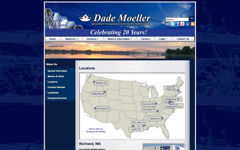 Screenshot of Locations Page moellerinc.com - Locations - Dade Moeller - captured Oct. 10, 2014