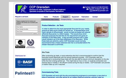 Screenshot of Support Page ccp-gransden.com - Commissioning Trials & Testing - CCP Gransden - captured Oct. 1, 2014