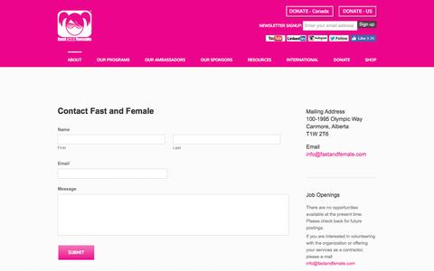 Screenshot of Contact Page fastandfemale.com - Contact - Fast and Female - captured Aug. 3, 2016