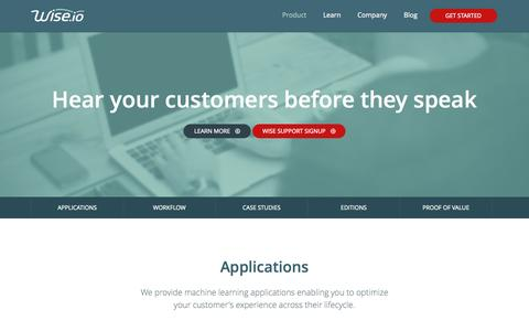 Screenshot of Case Studies Page wise.io - Product   Wise.io - captured Sept. 17, 2014