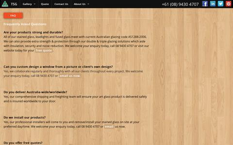 Screenshot of FAQ Page traditionstainedglass.com.au - FAQ | TSG - captured Oct. 24, 2017