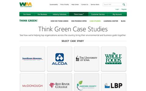 Screenshot of Case Studies Page wm.com - Case Studies about ThinkGreen | Waste Management - captured Jan. 26, 2017
