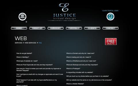 Screenshot of FAQ Page justicevirtualdesign.com - Justice Virtual Design - captured Sept. 26, 2014