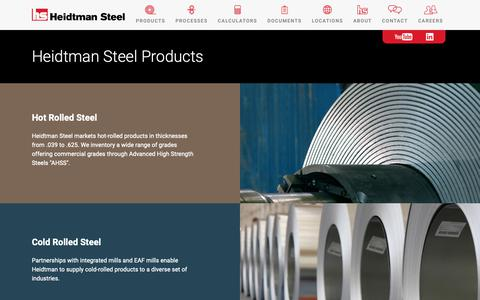 Screenshot of Products Page heidtman.com - Steel Products and Processing Services | Heidtman Steel - captured Sept. 28, 2018