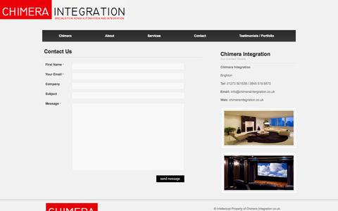 Screenshot of Contact Page chimeraintegration.co.uk - Chimera Integration : Custom Audio Visual Installation Guildford - captured Oct. 2, 2014