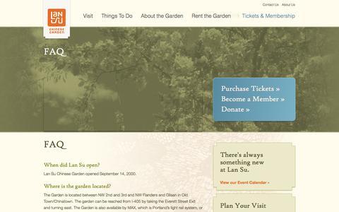 Screenshot of FAQ Page lansugarden.org - Frequently Asked Questions | Lan Su Chinese Garden | Lan Su Chinese Garden - captured Oct. 1, 2014