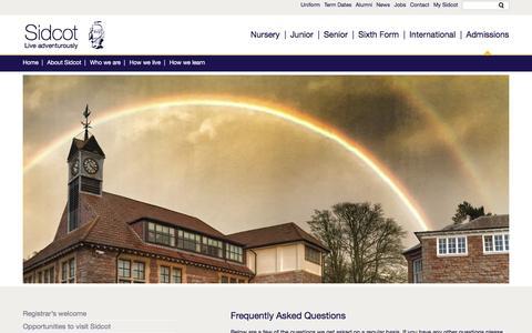 Screenshot of FAQ Page sidcot.org.uk - Sidcot School - captured Feb. 27, 2016