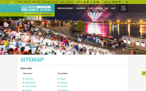 Screenshot of Site Map Page navypier.com - Sitemap | Navy Pier - captured May 22, 2016