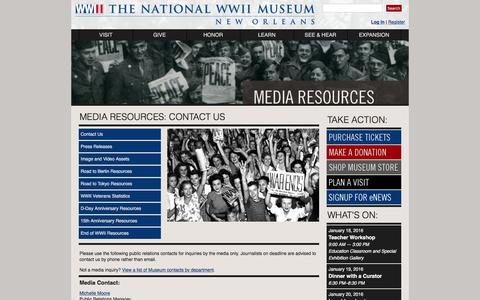 Screenshot of Press Page nationalww2museum.org - The National WWII Museum | New Orleans: MEDIA - captured Jan. 17, 2016