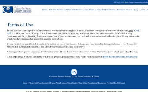 Screenshot of Terms Page charlestonbusinessbrokers.com - Terms of Use   Charleston Business Brokers - captured Nov. 4, 2018