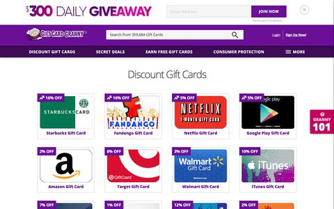 Screenshot of Home Page giftcardgranny.com - Buy Discount Gift Cards & Earn Free Gift Cards - Gift Card Granny® - captured June 22, 2017