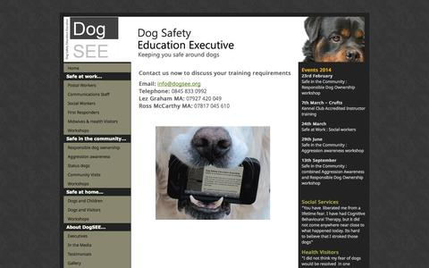 Screenshot of Contact Page dogsee.org - Dog Safety Education Executive - captured Oct. 5, 2014