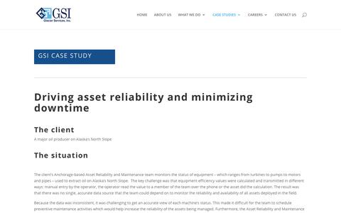 Screenshot of Case Studies Page glcr.com - GSI Case study Driving asset reliability and reducing downtime - captured Sept. 28, 2018