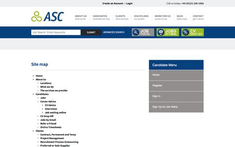Screenshot of Site Map Page asc-connections.com - Working with you throughout your career | ASC Connections - captured May 28, 2017