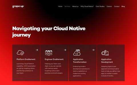 Screenshot of Services Page grapeup.com - Services — Grape Up — Cloud Native Application Development - captured July 23, 2018