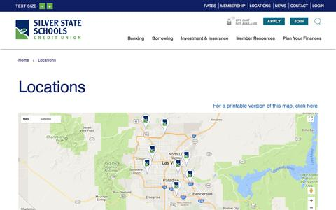 Screenshot of Locations Page silverstatecu.com - Silver State Schools Credit Union : Locations | Silver State Schools Credit Union - captured Feb. 1, 2018