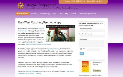 Screenshot of Home Page margotborden.com - East-West Coaching/Psychotherapy - Margot Esther Borden Integral Perspectives - captured Oct. 6, 2014