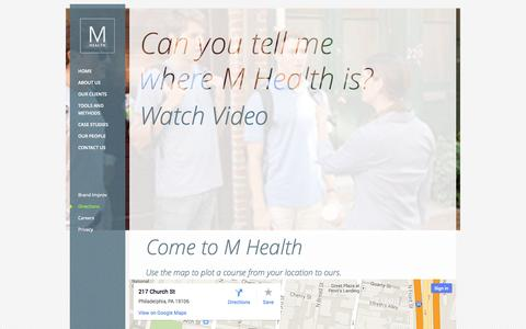 Screenshot of Maps & Directions Page m-health.com - Directions | M Health - captured Sept. 30, 2014