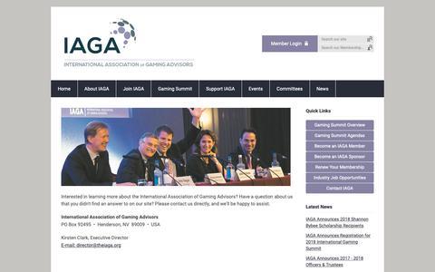 Screenshot of Contact Page theiaga.org - Contact IAGA - captured Oct. 12, 2018