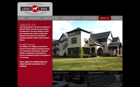 Screenshot of About Page leaddogcustomhomes.com - About Us - Lead Dog Custom Homes and Construction Management - captured Oct. 2, 2014