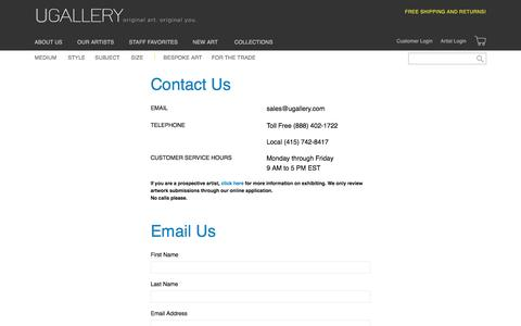 Screenshot of Contact Page ugallery.com - Contact Us at 1 888-402-1722   Ugallery Online Art Gallery - captured Feb. 26, 2020