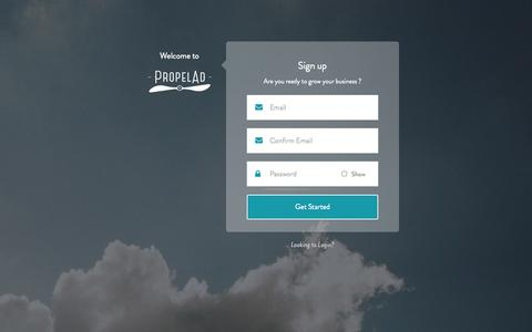 Screenshot of Signup Page propelad.com - The simplest and smartest way to advertise on Facebook | PropelAd - captured Oct. 27, 2014