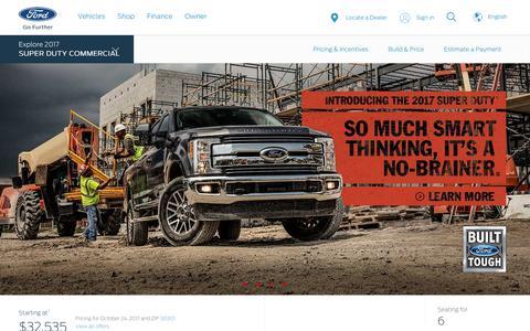 Screenshot of ford.com - 2017 Ford® Super Duty® Pickup Truck | The Strongest, Toughest, Smartest Super Duty Ever | Ford.com - captured Oct. 24, 2017