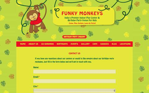 Screenshot of Contact Page funkymonkeys.in - Birthday Party Places for Kids in Mumbai, Pune, Surat & Bangalore | Funky Monkeys - captured Oct. 14, 2017