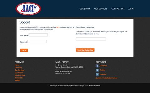 Screenshot of Login Page aacl.aero - Aging Aircraft Consulting LLC - Maintenance and Sustainment Solutions for Military & Aging Aircraft - captured Oct. 4, 2014