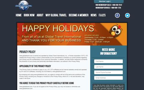 Screenshot of Privacy Page globaltravel.com - Global Travel: Cruises, Hotels, Vacations, Cheap Flights - captured Nov. 26, 2015