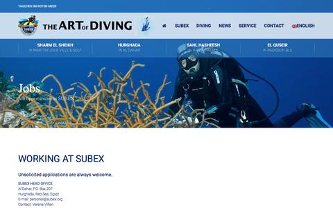 Screenshot of Jobs Page subex.org - Jobs - Stellenangebote bei SUBEX-The ART of DIVING - captured June 29, 2018