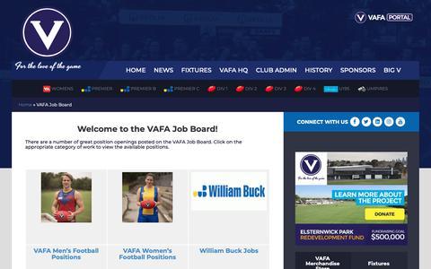 Screenshot of Jobs Page vafa.com.au - VAFA Job Board | VAFA - captured Oct. 18, 2018